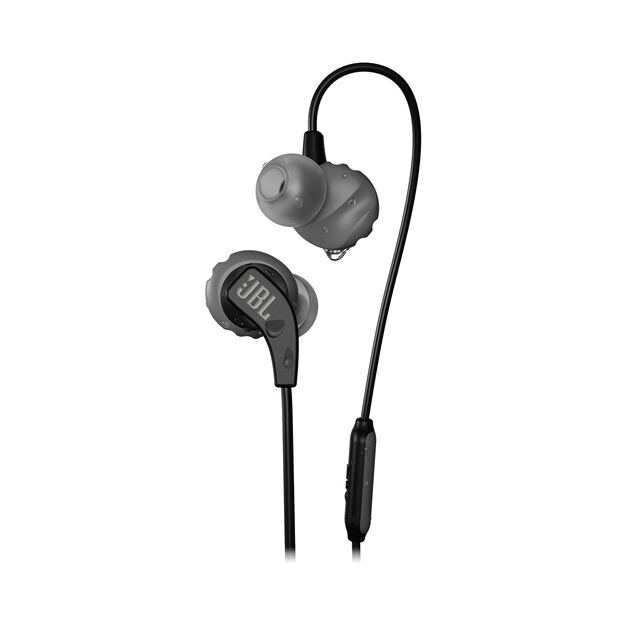 JBL Endurance RUN - Black - Sweatproof Wired Sport In-Ear Headphones - Hero