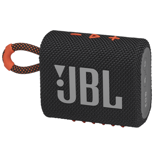 JBL GO 3 - Black / Orange - Portable Waterproof Speaker - Hero