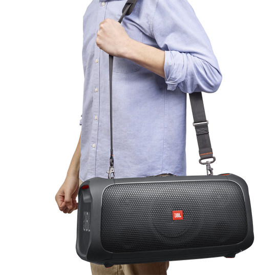 JBL PartyBox On-The-Go - Black - Portable party speaker with built-in lights and wireless mic - Detailshot 4