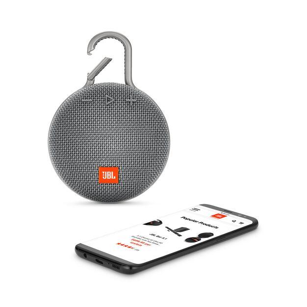 JBL CLIP 3 - Stone Grey - Portable Bluetooth® speaker - Detailshot 1
