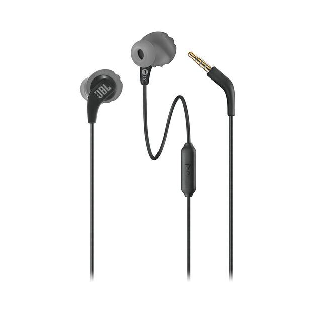JBL Endurance RUN - Black - Sweatproof Wired Sport In-Ear Headphones - Detailshot 1